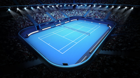 blue tennis court and stadium full of spectators from upper view tennis sport theme render illustration background Stock Photo