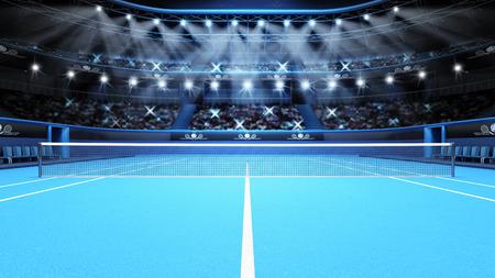 blue tennis court view and stadium full of spectators with spotlights  tennis sport theme render illustration background Stockfoto