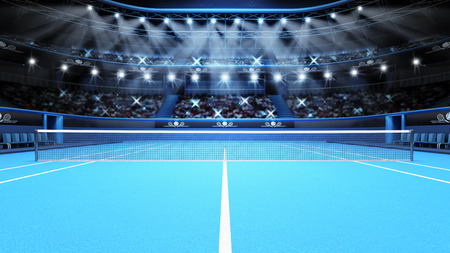 tennis court: blue tennis court view and stadium full of spectators with spotlights  tennis sport theme render illustration background Stock Photo