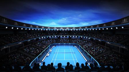 밤 하늘 테니스 경기장 및 스포츠 테마 그림 배경 자신의 디자인 렌더링 조명