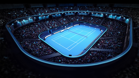 illuminated tennis stadium with blue court sport theme render illustration background own design Фото со стока