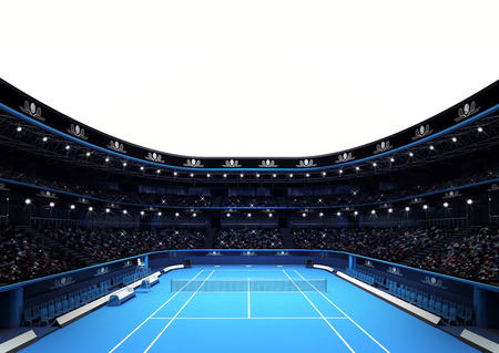 tennis court: isolated tennis stadium with white blank text space sport theme render illustration background own design Stock Photo