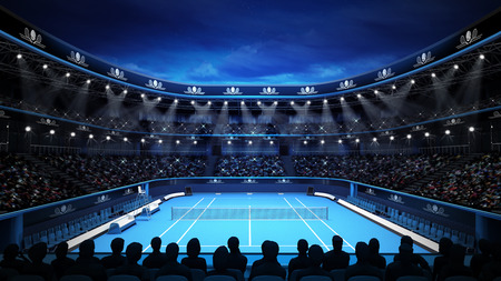 tennis court: tennis stadium with night sky and spectators sport theme render illustration background own design Stock Photo