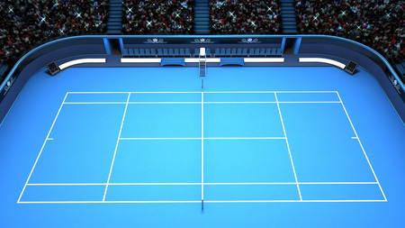 hard court: tennis blue court perspective upper side view  sport theme render illustration background own design