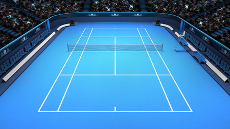 hard court: tennis blue court perspective upper front view  sport theme render illustration background own design Stock Photo
