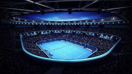 evening sky: illuminated tennis stadium with court and evening sky sport theme render illustration background own design
