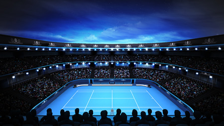 tennis stadium with evening sky and spotlights sport theme render illustration background own design