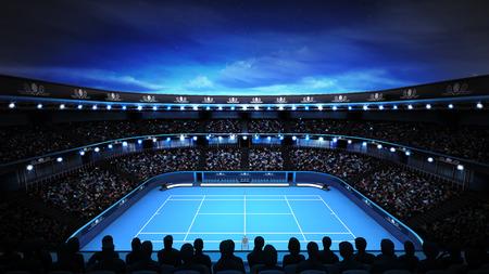stadium crowd: tennis stadium with evening sky and spotlights sport theme render illustration background own design