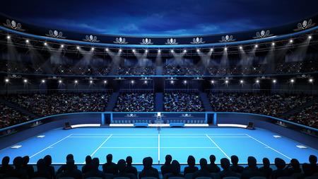 저녁 하늘과 관중 스포츠 테마 테니스 경기장은 그림 배경의 자신의 디자인을 렌더링 스톡 콘텐츠