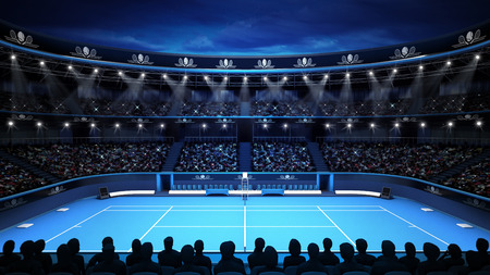 tennis stadium with evening sky and spectators sport theme render illustration background own design Stock Photo