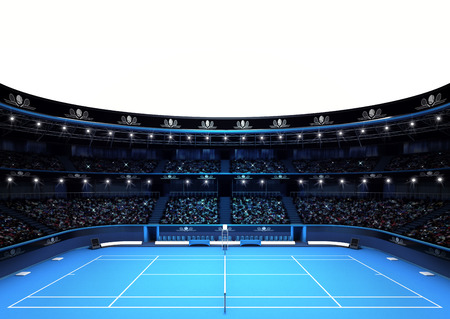 tennis net: isolated tennis stadium with white empty text space sport theme render illustration background own design