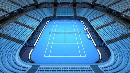 indoor court: empty tennis court stadium indoor view sport theme render illustration background own design