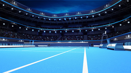 tennis court: blue tennis court from the perspective of the player sport theme render illustration background own design Stock Photo