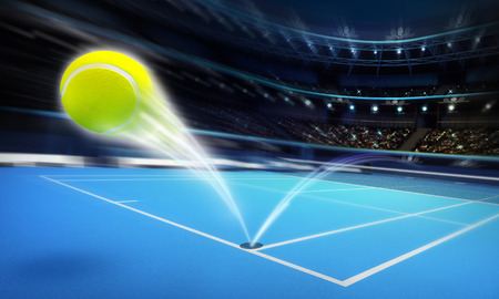 tennis court: flying tennis ball on a blue court in motion blur tennis sport theme render illustration background