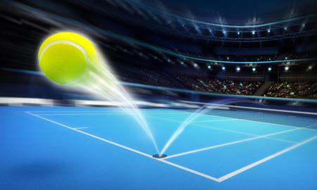 balones deportivos: volar pelota de tenis en una cancha de tenis de color azul en movimiento desenfoque deporte tema procesar ilustración de fondo