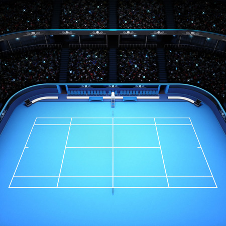 spectators: blue hard surface tennis court and stadium full of spectators side view tennis sport theme render illustration background