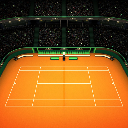 spectators: clay tennis court and stadium full of spectators side view tennis sport theme render illustration background