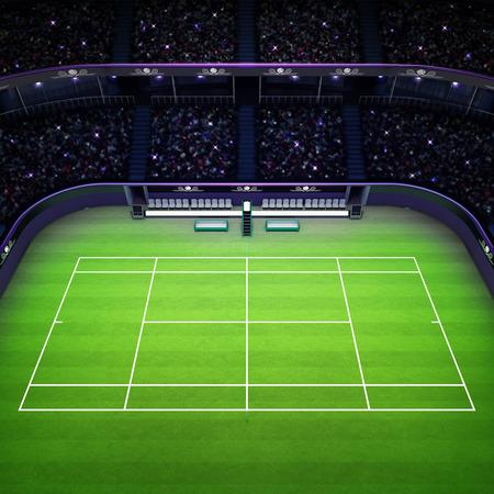 spectators: grass tennis court and stadium full of spectators side view tennis sport theme render illustration background