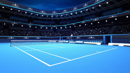 tennis court: whole tennis court from the perspective of the player sport theme render illustration background own design Stock Photo