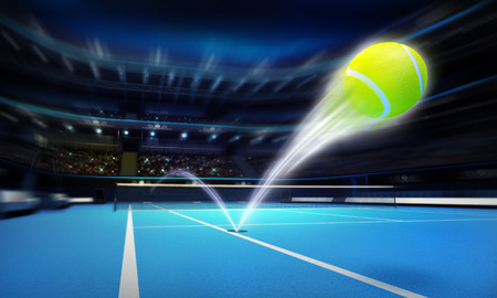tennis court: tennis ball ace strike on a blue court in motion blur tennis sport theme render illustration background Stock Photo
