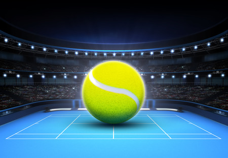 big tennis ball placed on a blue court tennis sport theme render illustration background