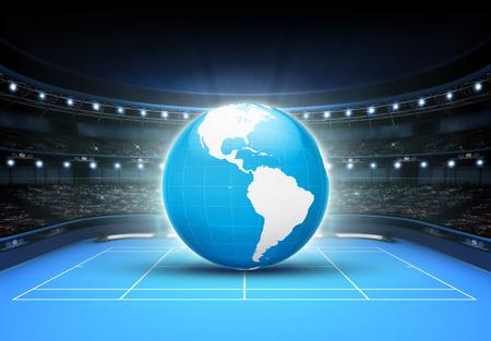 Blue world map placed on a blue court set on africa and europe blue world map placed on a blue court set on america tennis sport theme render illustration gumiabroncs Images