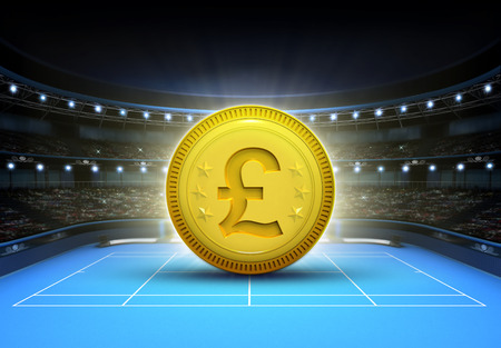 winning pitch: Pound prize money placed on a blue tennis court tennis sport theme render illustration background