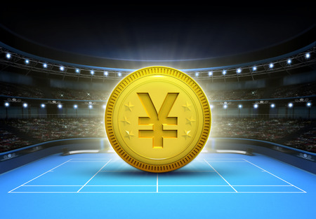 tennis: Yuan prize money placed on a blue tennis court tennis sport theme render illustration background