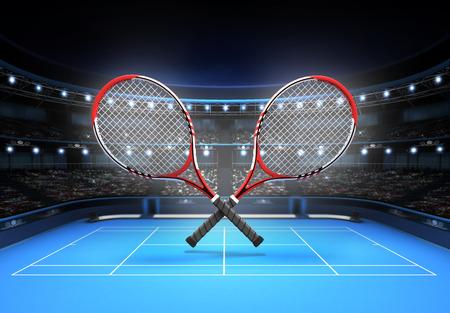 raqueta de tenis: raquetas de tenis rojas y blancas colocadas sobre un deporte de tenis tema de corte azul render ilustración de fondo Foto de archivo