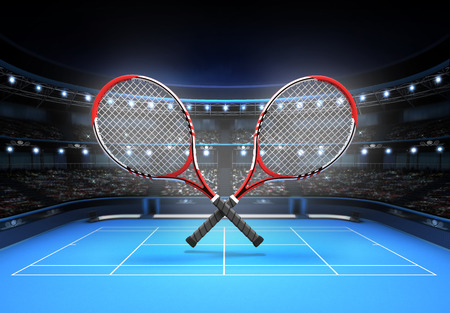 tennis net: red and white tennis rackets placed over a blue court tennis sport theme render illustration background