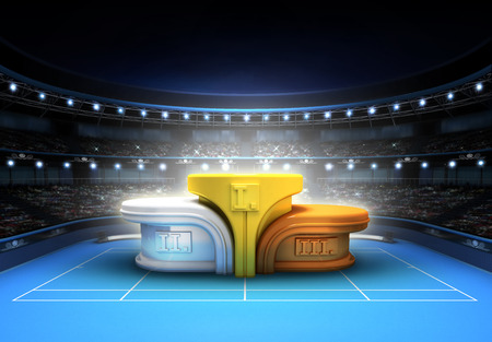 win: winning podium placed on a blue court tennis sport theme render illustration background Stock Photo