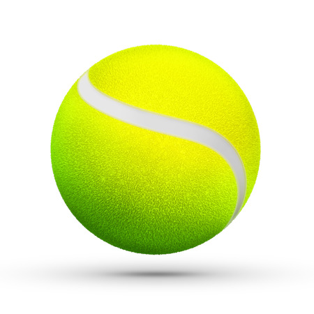 hairy: yellow green hairy tennis ball render sport equipment theme rendering illustration