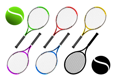 pack string: tennis racket equipment color collection with balls sport theme rendering illustration set