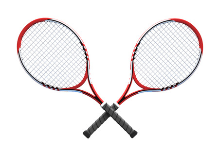 crossover: two red crossover tennis rackets tennis equipment sport theme rendering illustration
