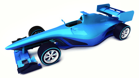 motorsport: blue 3D formula car isolated on white upper front view motorsport illustration design of my own