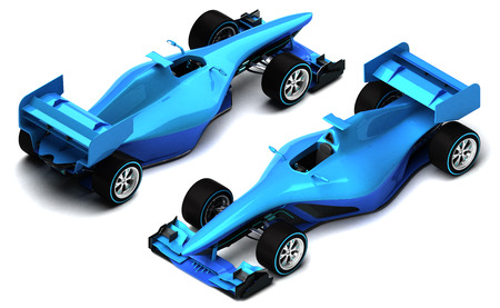 car race: blue 3D formula car isolated on white isometric view motorsport illustration design of my own