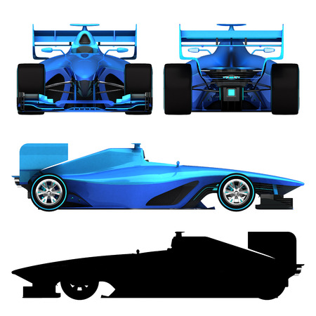 formula car: blue 3D formula car isolated on white orthogonal view motorsport illustration design of my own