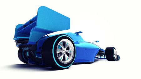 motorsport: blue 3D formula car isolated on white perspective back view motorsport illustration design of my own