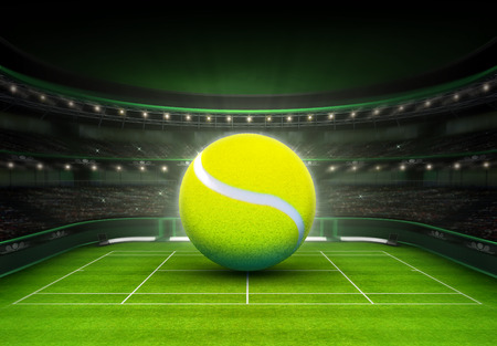 草裁判所テニスのスポーツ テーマ レンダリング図背景に置かれた大きなテニス ボール