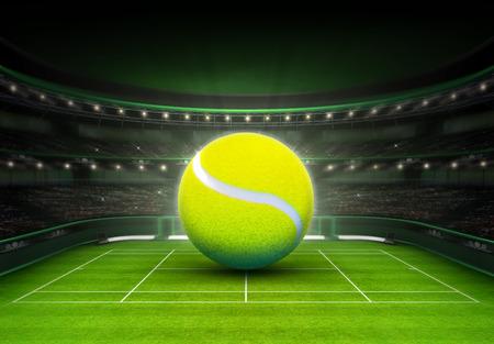 tenis: gran pelota de tenis colocada en un deporte de tenis tema cancha de césped procesar ilustración de fondo