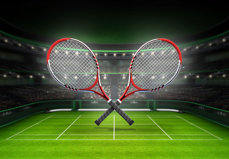 cross match: red and white tennis rackets placed over a grass court tennis sport theme render illustration background Stock Photo