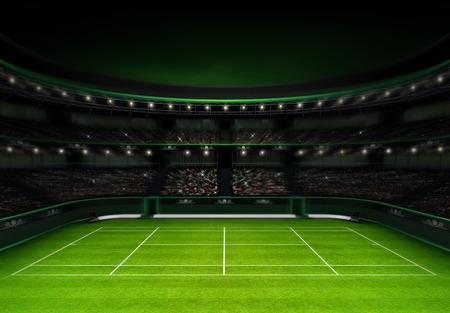 저녁 하늘 스포츠 테마 녹색 잔디 테니스 경기장 그림 배경 자신의 디자인 렌더링 스톡 콘텐츠