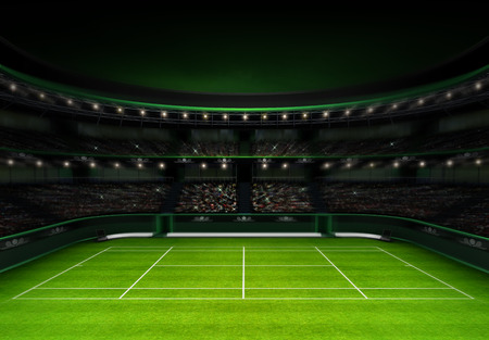 tennis court: green grass tennis stadium with evening sky sport theme render illustration background own design