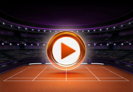 tennis stadium: naranja estadio de tenis de arcilla con el juego icono sobre el deporte de tenis tema procesar ilustraci�n fondo propio dise�o