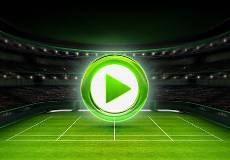 tennis stadium: estadio de tenis de hierba verde con el juego icono sobre el deporte de tenis tema procesar ilustraci�n fondo propio dise�o