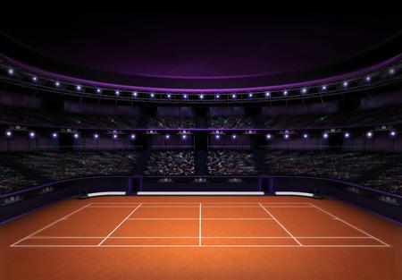 tennis net: orange clay tennis stadium with evening sky sport theme render illustration background own design