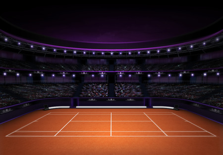 tennis racquet: orange clay tennis stadium with evening sky sport theme render illustration background own design