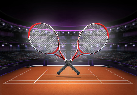 cross match: red and white tennis rackets placed over a clay court tennis sport theme render illustration background