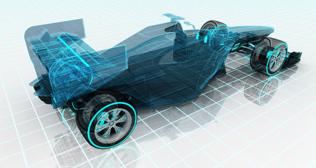 formula car technology wireframe sketch upper back view motorsport product background design of my own Stock Photo