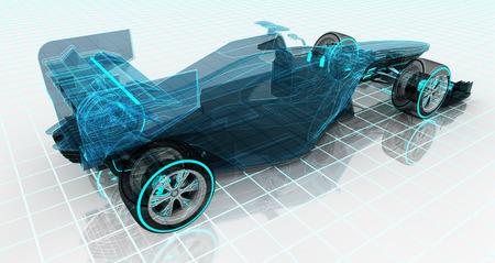 formule auto technologie wireframe sketch bovenrug uitzicht motorsport product achtergrond ontwerp van mijn eigen Stockfoto